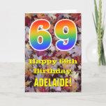 "[ Thumbnail: 69th Birthday; Rustic Autumn Leaves; Rainbow ""69"" Card ]"