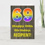 "[ Thumbnail: 69th Birthday: Rustic Faux Wood Look, Rainbow ""69"" Card ]"