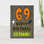[ Thumbnail: 69th Birthday: Spooky Halloween Theme, Custom Name Card ]