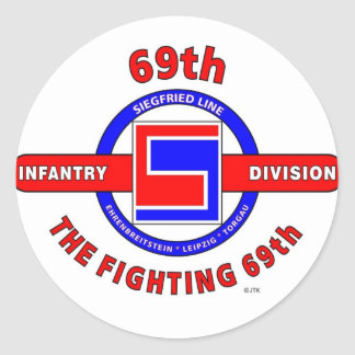 """69TH INFANTRY DIVISION """"THE FIGHTING 69TH"""" CLASSIC ROUND STICKER"""