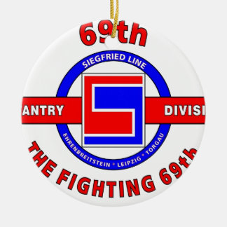 """69TH INFANTRY DIVISION """"THE FIGHTING 69TH"""" Double-Sided CERAMIC ROUND CHRISTMAS ORNAMENT"""