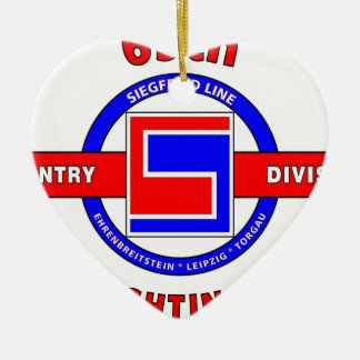 """69TH INFANTRY DIVISION """"THE FIGHTING 69TH"""" Double-Sided HEART CERAMIC CHRISTMAS ORNAMENT"""