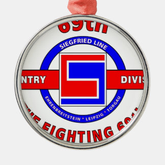 """69TH INFANTRY DIVISION """"THE FIGHTING 69TH"""" ROUND METAL CHRISTMAS ORNAMENT"""