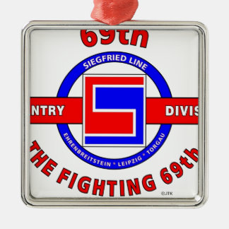 """69TH INFANTRY DIVISION """"THE FIGHTING 69TH"""" SQUARE METAL CHRISTMAS ORNAMENT"""