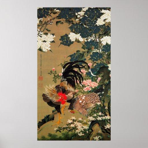 6. 紫陽花双鶏図, 若冲 Hydrangea and Rooster, Jakuchū Poster