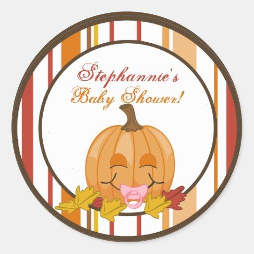 """6 - 3"""" bebé de la calabaza de la caída del otoño etiquetas redondas"""
