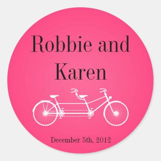 "6 - 3"" bici doble rosada caprichosa de los pegatina redonda"