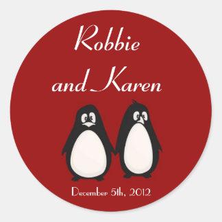 """6 - 3"""" compañero de los pares del amor del pingüin pegatina redonda"""