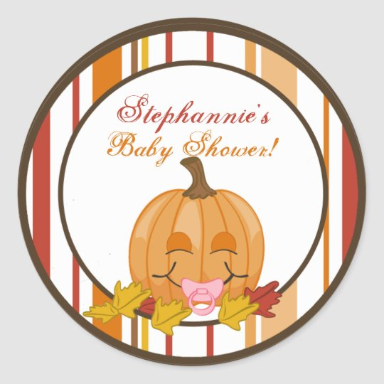 "6 - 3""  Favor Stickers Autumn Fall Pumpkin Baby"