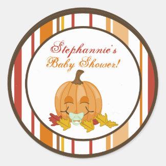 """6 - 3""""  Favor Stickers Autumn Fall Pumpkin Baby Round Sticker"""