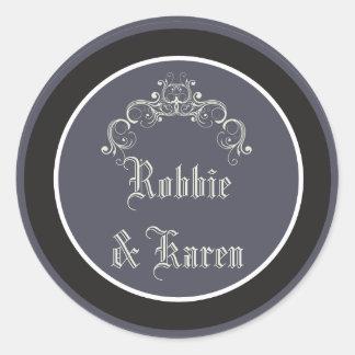 """6 - 3"""" Favor Stickers Black Tie Affair Gray Elegan Round Sticker"""