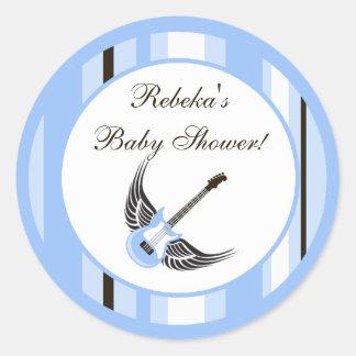 """6 - 3"""" Favor Stickers Boy Blue Punk Rocker Guitar"""