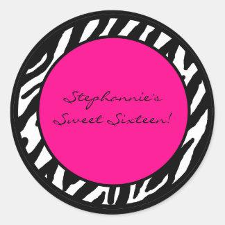 "6 - 3""  Favor Stickers Hot Pink Zebra Print"