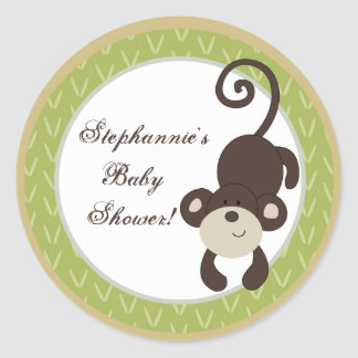 """6 - 3""""  Favor Stickers Monkey Time Zoo Animal"""
