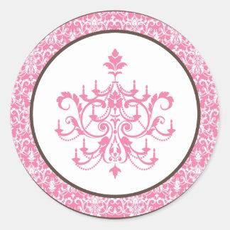 "6 - 3"" Favor Stickers Pink Chandelier"