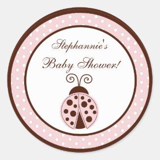 "6 - 3""  Favor Stickers Pink Ladybug"