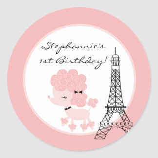 "6 - 3""  Favor Stickers Pink Poodle in Paris"
