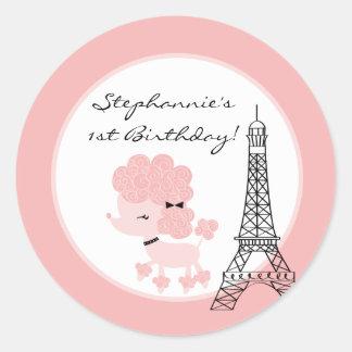 "6 - 3""  Favor Stickers Pink Poodle in Paris Round Sticker"