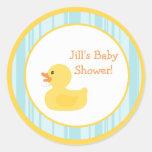 "6 - 3""  Favor Stickers Rubber Ducky Bubbles Round Sticker"