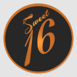 """6 - 3"""" negro anaranjado del dulce 16 de los etiqueta redonda"""
