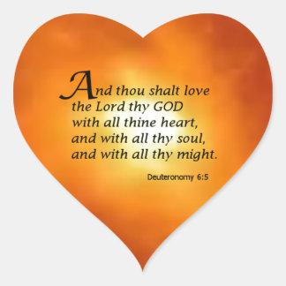 6:5 de Deuteronomy Pegatinas De Corazon