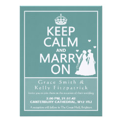 "6.5"" Keep Calm and Marry On Wedding Invitation"