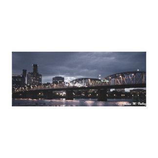 6.5 x 16.5 Hawthorne Bridge Portland, Oregon Gallery Wrapped Canvas
