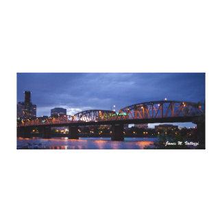 6.5 x 16.5 Hawthorne Bridge Portland, Oregon Canvas Print