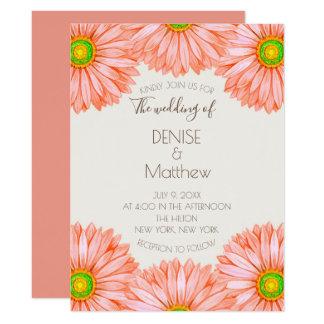 "6.5"" x 8.75"" Apricot Gerbera Wedding Invitation"