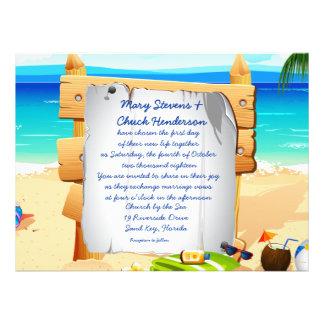 """6.5 x 8.75"""" Beach Board Wedding Invitation"""