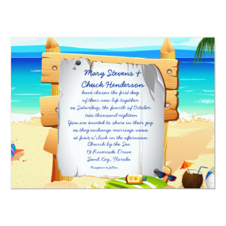 "6.5 x 8.75"" Beach Board Wedding Invitation 6.5"" X 8.75"" Invitation Card"