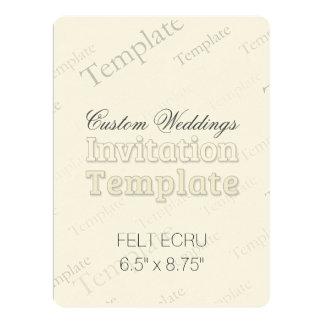 "6.5"" x 8.75"" Felt Ecru Custom Wedding Invitation"