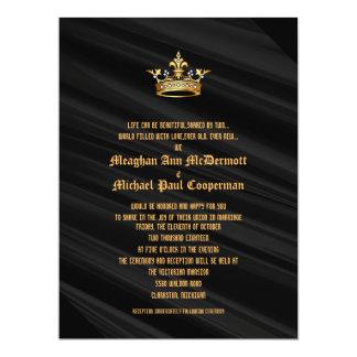 "6.5x8.75"" Black Silk  Royal Queen Crown Invitation"