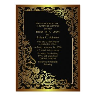 "6.5x8.75"" Damask Luxury Golden Black Wedding Invit Invite"