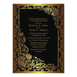 """6.5x8.75"""" Damask Luxury Golden Black Wedding Invit Personalized Invites"""