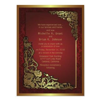 """6.5x8.75"""" Damask Luxury Golden Red Wedding Invite"""