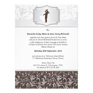 """6.5x8.75"""" Damask Vintage Elegant Wedding Invite"""