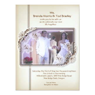 "6.5x8.75"" Damask Vintage Photo Wedding Invitation"