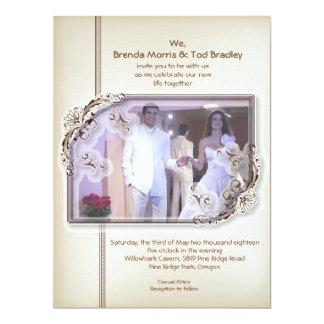 "6.5x8.75"" Damask Vintage Photo Wedding Invitation"