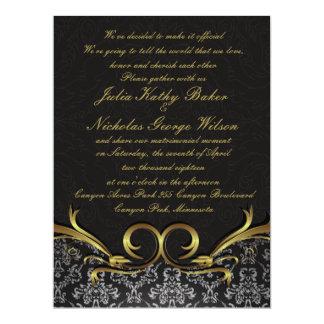 "6.5x8 .75"" Damask Vintage Wedding Invitation Black 6.5"" X 8.75"" Invitation Card"