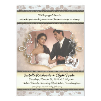 "6.5x8.75"" Elegant Vintage Wedding Photo Invitation"