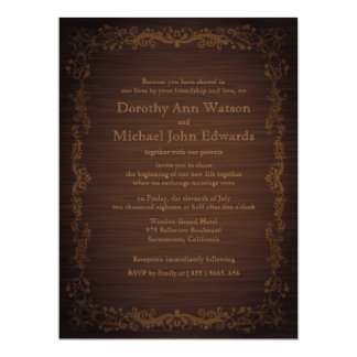 "6.5x8.75"" Floral Wooden Style Wedding Invitation"