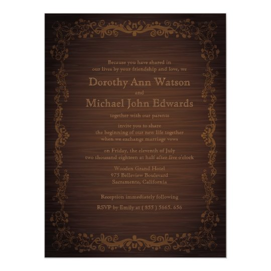 """6.5x8.75"""" Floral Wooden Style Wedding Invitation"""