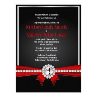 "6.5x8.75"" Glamour Luxury Pearls Wedding Invitation"