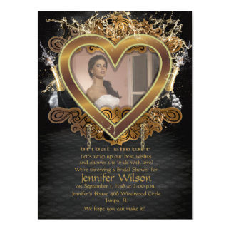 "6.5x8.75' Golden Heart Bridal Shower Photo Invite 6.5"" X 8.75"" Invitation Card"