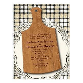 """6.5x8.75"""" Kitchen Wooden Board Wedding Invitation"""