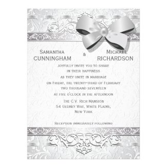"""6.5x8.75"""" Modern Silver Floral Damask Bow   Personalized Invites"""