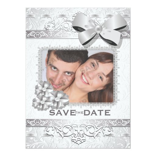 """6.5x8.75"""" Modern Silver Floral Damask Bow Save The Card"""