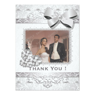 """6.5x8.75"""" Modern Silver Floral Damask Bow Thak You Personalized Announcements"""