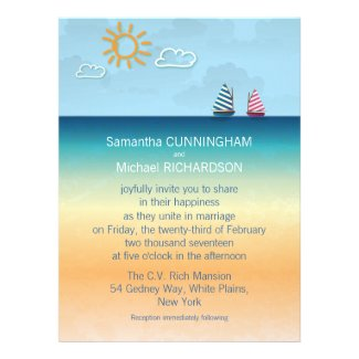 6.5x8.75 Ocean Sand Beach Theme Wedding Invitation